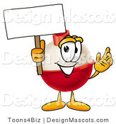 Stock Mascot Cartoon of a Red and White Fishing Bobber Mascot Cartoon Character Holding a Blank Sign by Toons4Biz