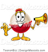 Stock Mascot Cartoon of a Red and White Fishing Bobber Mascot Cartoon Character Holding a Megaphone by Toons4Biz