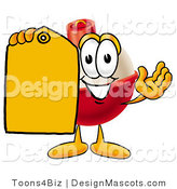 Stock Mascot Cartoon of a Red and White Fishing Bobber Mascot Cartoon Character Holding a Yellow Sales Price Tag by Toons4Biz