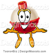 Stock Mascot Cartoon of a Red and White Fishing Bobber Mascot Cartoon Character Sitting by Toons4Biz