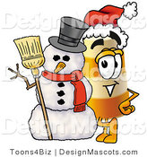 Stock Mascot Cartoon of a Road Construction Barrel Mascot Cartoon Character with a Snowman on Christmas by Toons4Biz