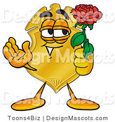 Stock Mascot Cartoon of a Romantic Police Badge Mascot Cartoon Character Holding a Red Rose on Valentines Day by Toons4Biz