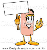 Stock Mascot Cartoon of a Smiling Bandaid Bandage Mascot Cartoon Character Holding a Blank Sign by Toons4Biz