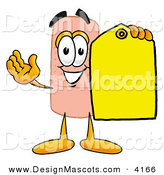 Stock Mascot Cartoon of a Smiling Bandaid Bandage Mascot Cartoon Character Holding a Yellow Sales Price Tag by Toons4Biz