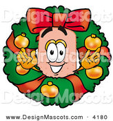 Stock Mascot Cartoon of a Smiling Bandaid Bandage Mascot Cartoon Character in the Center of a Christmas Wreath by Toons4Biz