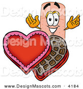 Stock Mascot Cartoon of a Smiling Bandaid Bandage Mascot Cartoon Character with an Open Box of Valentines Day Chocolate Candies by Toons4Biz