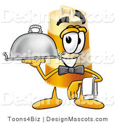 Stock Mascot Cartoon of a Smiling Barrel Mascot Cartoon Character Dressed As a Waiter and Holding a Serving Platter by Toons4Biz