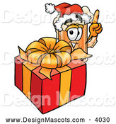 Stock Mascot Cartoon of a Smiling Beer Mug Mascot Cartoon Character Standing by a Christmas Present by Toons4Biz