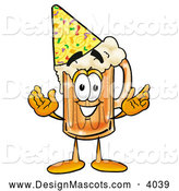 Stock Mascot Cartoon of a Smiling Beer Mug Mascot Cartoon Character Wearing a Birthday Party Hat by Toons4Biz