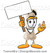 Stock Mascot Cartoon of a Smiling Bone Mascot Cartoon Character Holding a Blank Sign by Toons4Biz
