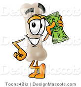 Stock Mascot Cartoon of a Smiling Bone Mascot Cartoon Character Holding a Dollar Bill by Toons4Biz