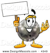 Stock Mascot Cartoon of a Smiling Bowling Ball Mascot Cartoon Character Holding a Blank Sign by Toons4Biz