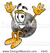 Stock Mascot Cartoon of a Smiling Bowling Ball Mascot Cartoon Character Jumping by Toons4Biz