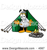 Stock Mascot Cartoon of a Smiling Erlenmeyer Conical Laboratory Flask Beaker Mascot Cartoon Character Camping with a Tent and Fire by Toons4Biz