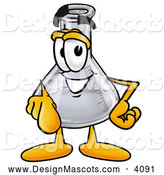 Stock Mascot Cartoon of a Smiling Erlenmeyer Conical Laboratory Flask Beaker Mascot Cartoon Character Pointing at the Viewer by Toons4Biz
