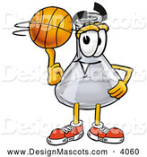 Stock Mascot Cartoon of a Smiling Erlenmeyer Conical Laboratory Flask Beaker Mascot Cartoon Character Spinning a Basketball on His Finger by Toons4Biz
