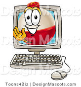 Stock Mascot Cartoon of a Smiling Fishing Bobber Mascot Cartoon Character Waving from Inside a Computer Screen by Toons4Biz