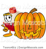 Stock Mascot Cartoon of a Smiling Fishing Bobber Mascot Cartoon Character with a Carved Halloween Pumpkin by Toons4Biz