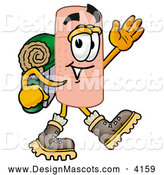 Stock Mascot Cartoon of a Sporty Bandaid Bandage Mascot Cartoon Character Hiking and Carrying a Backpack by Toons4Biz