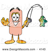 Stock Mascot Cartoon of a Sporty Bandaid Bandage Mascot Cartoon Character Holding a Fish on a Fishing Pole by Toons4Biz