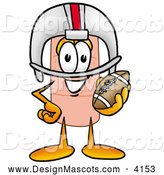 Stock Mascot Cartoon of a Sporty Bandaid Bandage Mascot Cartoon Character in a Helmet, Holding a Football by Toons4Biz