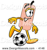 Stock Mascot Cartoon of a Sporty Bandaid Bandage Mascot Cartoon Character Kicking a Soccer Ball by Toons4Biz