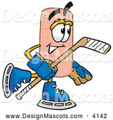 Stock Mascot Cartoon of a Sporty Bandaid Bandage Mascot Cartoon Character Playing Ice Hockey by Toons4Biz