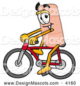 Stock Mascot Cartoon of a Sporty Bandaid Bandage Mascot Cartoon Character Riding a Bicycle by Toons4Biz