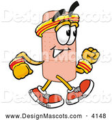 Stock Mascot Cartoon of a Sporty Bandaid Bandage Mascot Cartoon Character Speed Walking or Jogging by Toons4Biz