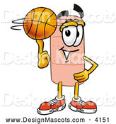 Stock Mascot Cartoon of a Sporty Bandaid Bandage Mascot Cartoon Character Spinning a Basketball on His Finger by Toons4Biz