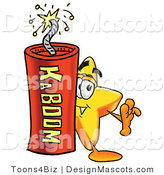 Stock Mascot Cartoon of a Star Mascot and Dynamite by Toons4Biz