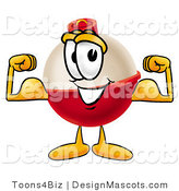 Stock Mascot Cartoon of a Strong Fishing Bobber Mascot Cartoon Character Flexing His Arm Muscles by Toons4Biz