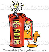 Stock Mascot Cartoon of a Tag Mascot and Dynamite by Toons4Biz