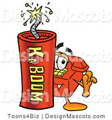 Stock Mascot Cartoon of a Telephone Mascot and Dynamite by Toons4Biz