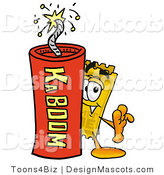 Stock Mascot Cartoon of a Ticket Mascot and Dynamite by Toons4Biz