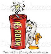 Stock Mascot Cartoon of a Tooth Mascot and Dynamite by Toons4Biz