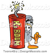 Stock Mascot Cartoon of a Trash Can Mascot and Dynamite by Toons4Biz