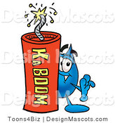 Stock Mascot Cartoon of a Water Drop Mascot and Dynamite by Toons4Biz