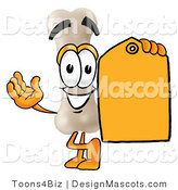 Stock Mascot Cartoon of a White Bone Mascot Cartoon Character Holding a Yellow Sales Price Tag by Toons4Biz