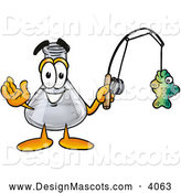 Stock Mascot Cartoon of an Erlenmeyer Conical Laboratory Flask Beaker Mascot Cartoon Character Holding a Caught Fish on a Fishing Pole by Toons4Biz