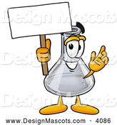Stock Mascot Cartoon of an Erlenmeyer Conical Laboratory Flask Beaker Mascot Cartoon Character Smiling While Holding a Blank Sign by Toons4Biz