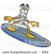 Stock Mascot Cartoon of an Erlenmeyer Conical Laboratory Flask Beaker Mascot Cartoon Character Surfing on a Blue and Yellow Surfboard, on White by Toons4Biz