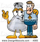 Stock Mascot Cartoon of an Erlenmeyer Conical Laboratory Flask Beaker Mascot Cartoon Character Talking to a Pleased Business Man by Toons4Biz