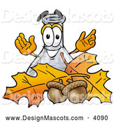 Stock Mascot Cartoon of an Erlenmeyer Conical Laboratory Flask Beaker Mascot Cartoon Character with Autumn Leaves and Acorns in the Fall, on White by Toons4Biz