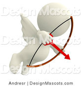 Stock Mascot of a 3d Cupid Aiming an Arrow by Andresr