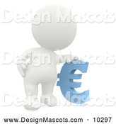 Stock Mascot of a 3d White Person Resting His Hand on a Blue Euro Symbol by