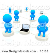 Stock of 3d Networked Blue People Connected to Laptop by Andresr