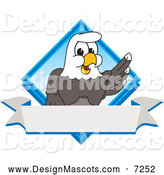 Stock Vector Cartoon of a Bald Eagle Mascot over a Diamond and Banner by Toons4Biz