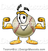 Stock Vector Mascot Cartoon of a Baseball Mascot Flexing His Arm Muscles by Toons4Biz
