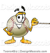Stock Vector Mascot Cartoon of a Baseball Mascot Holding a Pointer Stick by Toons4Biz